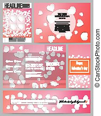 Set of business templates for presentation, brochure, flyer or booklet. White paper hearts, red vector background, Valentines day decoration