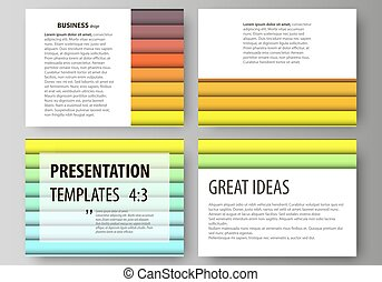 Set of business templates for presentation slides. vector layouts in flat style. Bright color rectangles, colorful design, geometric rectangular shapes forming abstract beautiful background.