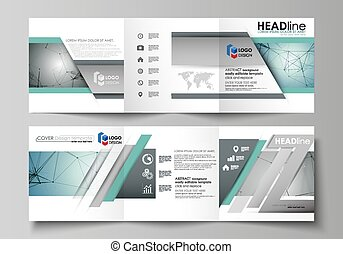 Set of business templates for tri fold square design...