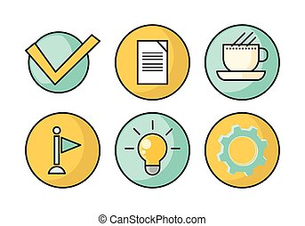 Set of Business Vector Icons in Flat Style Design