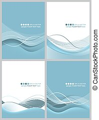 Set of business wavy abstract vector background.