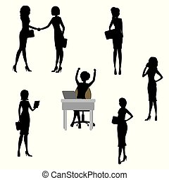 Set of Business woman silhouettes,