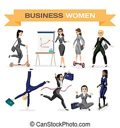 Set of business woman. Vector flat design illustration isolated on white background