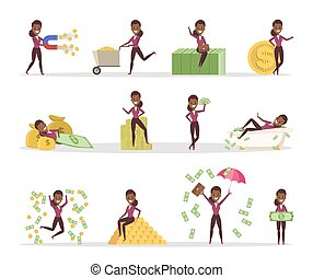 Set of business woman with money