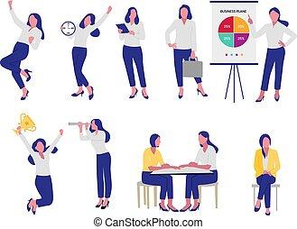 Set of business women flat design
