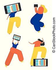 Set of business women flat icons