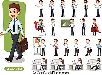 Set of Businessman Cartoon Character Design Wearing Shirt -...