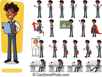 Set of Businessman Cartoon Character Design Wearing Vest -...