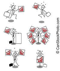 Set of businessman down chart