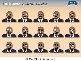 Set of businessman emoticons.