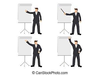 Set of businessman giving a presentation.