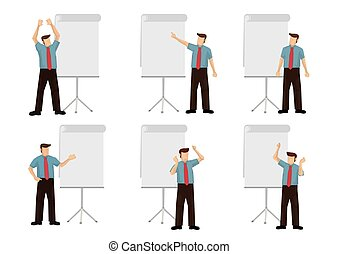 Set of businessman giving a presentation. Isolated vector cartoon illustration.