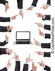 set of businessman hand gesture with forefinger