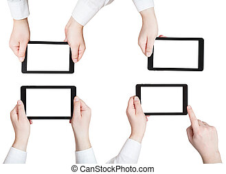 set of businessman hands holding tablet pc