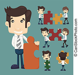 Set of businessman holding up jigsaw puzzle pieces as a solution to a problem
