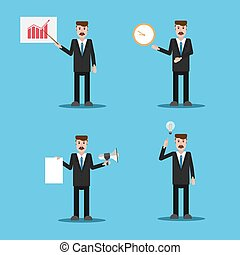 Set of businessman icons concept eps 10 vector