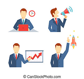 Set of businessman icons in flat style - Set of businessman...