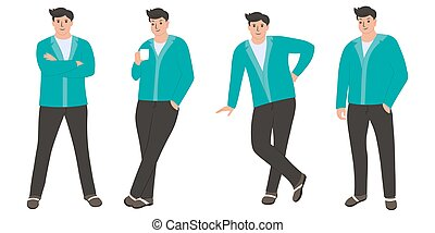 set of businessman in different poses.