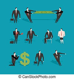 Set of businessman in various poses and situations. Man in business suit at work. Two managers share profit pulling money. Adoration of dollar. Businessman boxer with gloves. Man bust naked and with case.
