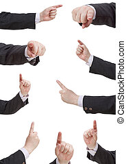 set of businessman pressing forefinger