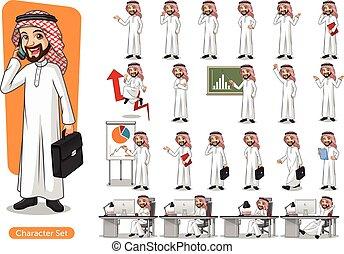 Set of businessman Saudi Arab Man Cartoon Character Design -...