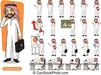 Set of businessman Saudi Arab Man Cartoon Character Design -...