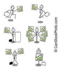 Set of businessman Up chart