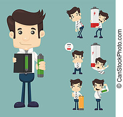 Set of businessman with battery