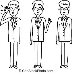 set of businessman with glasses standing - vector illustration sketch hand drawn isolated on white background