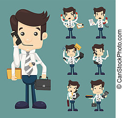 Set of businessman with many hands in elegant suit working hold notepad clipboard, cell phone, paper, document, contract