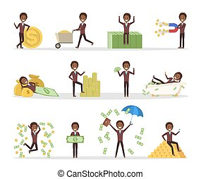 Set of businessman with money