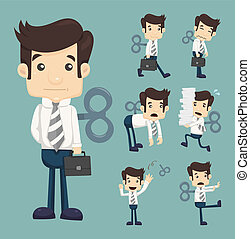 Set of businessman with wind-up key , eps10 vector format