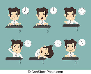 Set of businessman working time