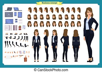 Set of Businesswoman character design. Front, side, back view animated character. Business girl character creation set with various views, poses and gestures. Cartoon style, flat vector isolated