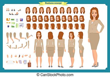 Set of Businesswoman character design.Front, side, back view animated character.Business girl character creation set with various views, poses and gestures. Cartoon, flat vector isolated