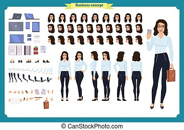 Set of Businesswoman character design.Front, side, back view animated character.Business girl character creation set with various views, poses and gestures.