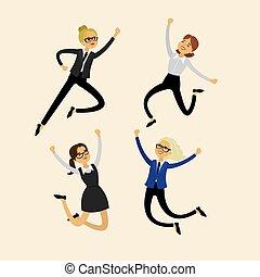 Set of businesswomen, women in various poses