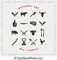 set of butchery and barbecue symbols with letterpress...