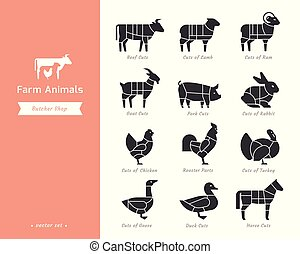 Farm animals silhouettes collection for groceries, meat stores, packaging, and advertising.