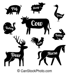 Set of butchery logotype templates. Cartoon farm animals with sample text. Retro styled toy farm animals black silhouettes collection for meat stores, groceries, packaging and advertising. Vector butcher block design.