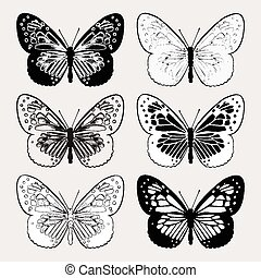 Set of butterflies black and white, hand-drawing. Vector illustr