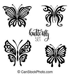 Set of butterflies for tattoo