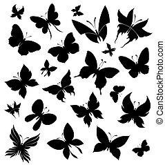 Set of butterflies