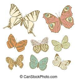 set of butterflies in retro colors