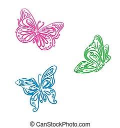 set of butterflies in sketch style