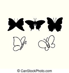 Set of butterflies isolated on white vector illustration