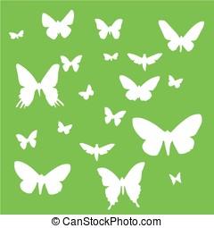 Set of butterflies on a green background