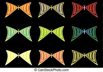 Set of butterflies silhouettes,