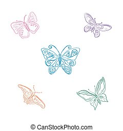 set of butterflies, sketch style, vector illustration
