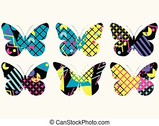 Set of butterflies with a memphis pattern made of geometric elements in the style of the 80s. Vector illustration